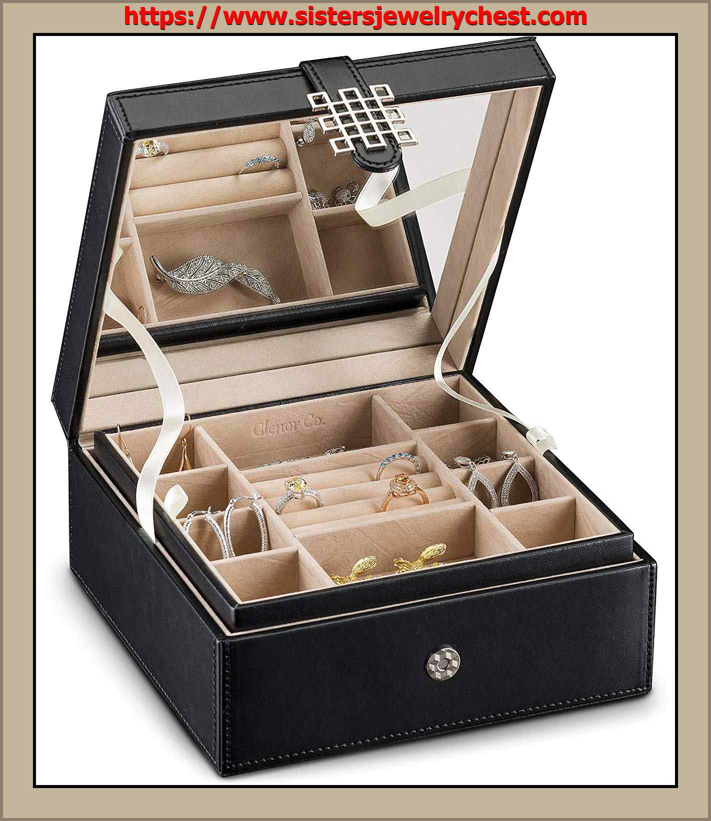 68ee52674 Glenor Co Jewelry Box Organizer - 17 Slot Small Classic Holder with ...
