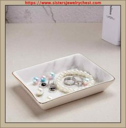 Nordic grey striped marble plate - Ceramic jewelry tray