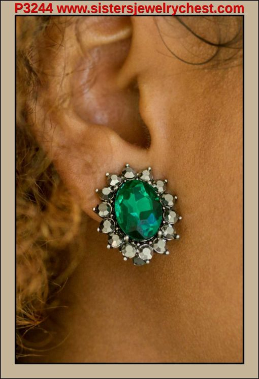 Gala Glamour - Green Clip-On - Paparazzi Accessories.jpg